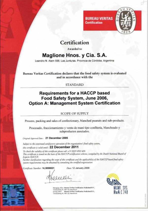 Сертификат на арахис